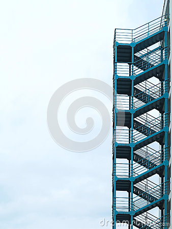 Free Green Outside Fire Escape Stairs Ladder Over Cloudy Sky Stock Images - 57729934