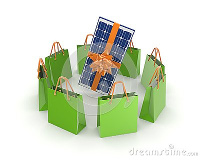 Green packets around solar battery.