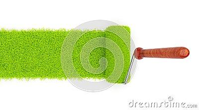 Green paint of grass. Roller  3D