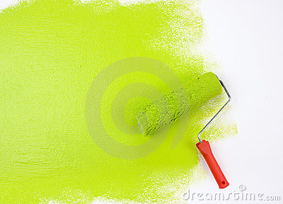 Green paint roller