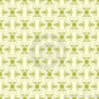 Green and Pale Yellow Damask Seamless Pattern