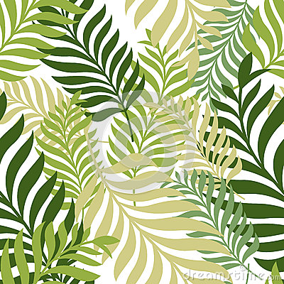 Green palm tree leaves. Vector seamless pattern. Nature organic Vector Illustration