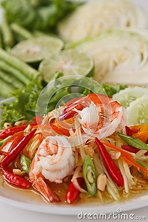 Free Green Papaya Salad Stock Image - 18773841