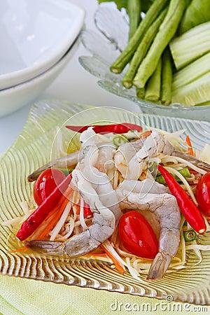 Green papaya salad  with rare shrimp