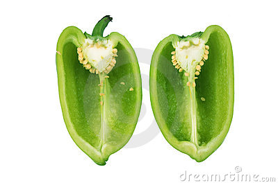 Green paprika inside