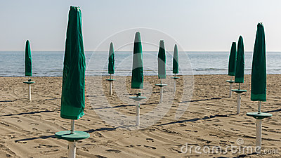 Green parasol on the beach