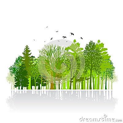 Green park small wood illustration