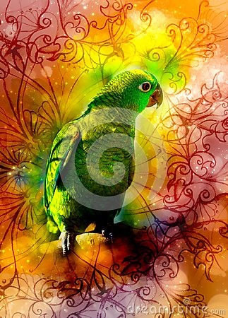 Free Green Parrot And Ornaments And Softly Blurred Watercolor Background. Royalty Free Stock Image - 119495296