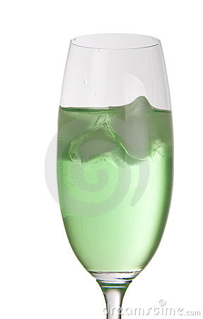Green party drink with ice
