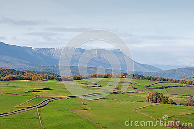 Green pastures and mountains on a spring morning
