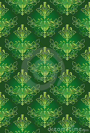 Vector of Seamless Green Floral Pattern Background by BestVector