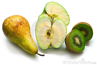 Green pear, apple and kiwi