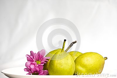 Green pear and flower