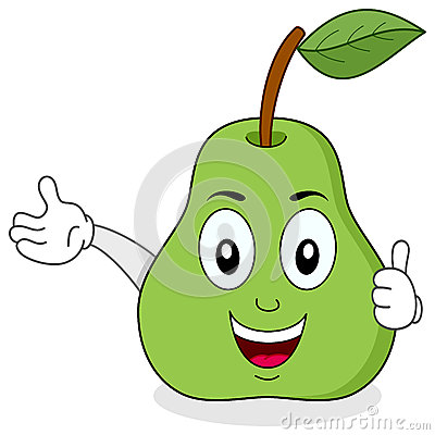Green Pear Thumbs Up Character