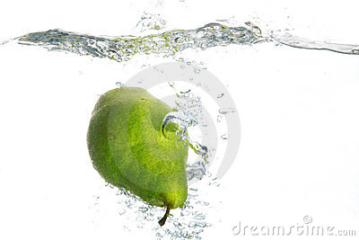 Green pear in water