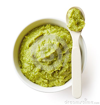 Free Green Peas And Broccoli Baby Puree  On White Stock Photos - 108185113
