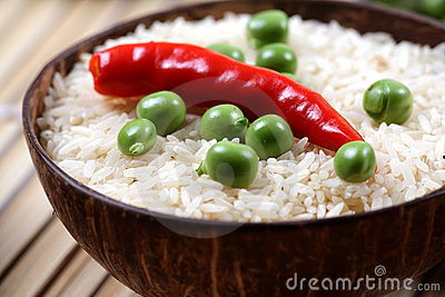 Green peas and basmati rice