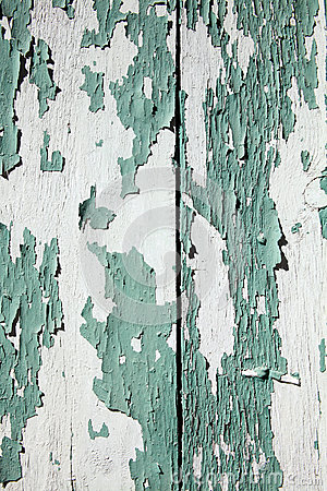 Green peeling paint wood background