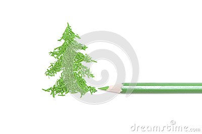 Green pencil and fur-tree from core crumbs