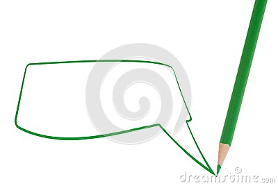 Green pencil writing