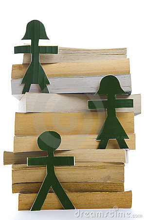 Green People on a pile of books