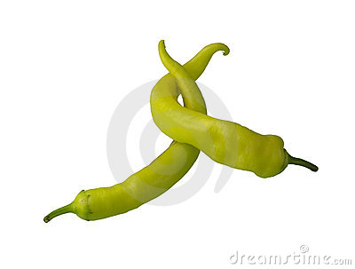 Green pepper embrace isolated