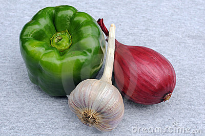 Green Pepper, Garlic And Onion Bulbs