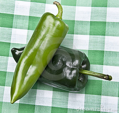 Green Peppers on a Picnic Blanket.