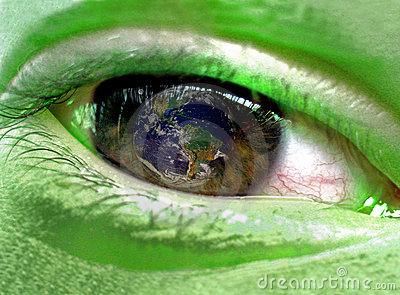 Green person watching Earth