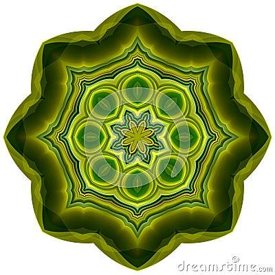 Green petal mandala
