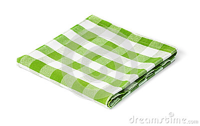 Green picnic tablecloth isolated
