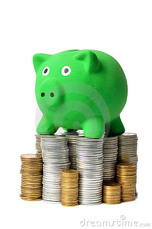 Green Piggy Bank and Coins