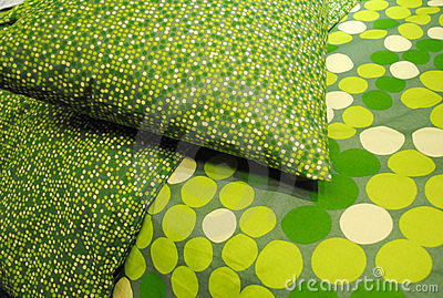 Green Pillow and Bedspread