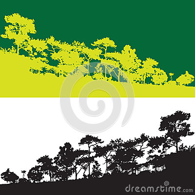 Free Green Pine Tree  Vector Banner, Wild Jungle Mountain Outline Royalty Free Stock Photo - 74721075