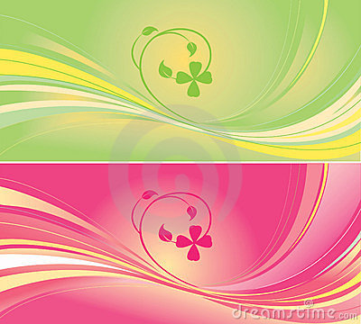 Green and pink backgrounds