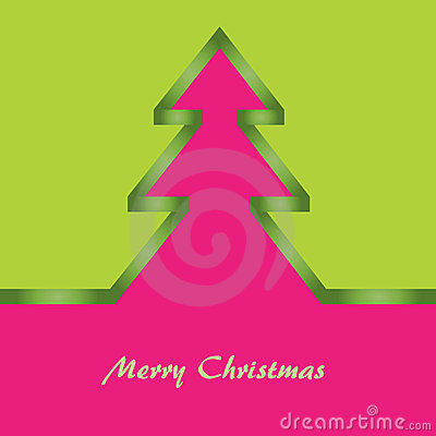 Green and pink Christmas card