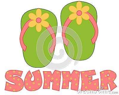 Green, Pink Flip Flops Summer