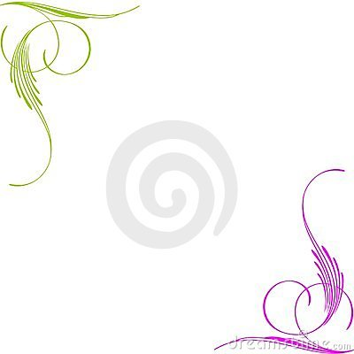Green pink swirls corners