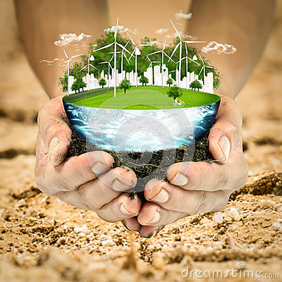 Free Green Planet Concept. Wind Turbine Clean Nature Ecology Environment. Stock Image - 91952091