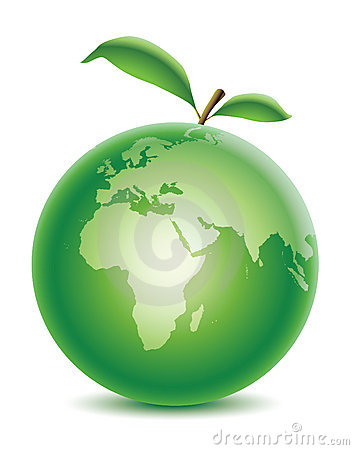 Green planet with leaf