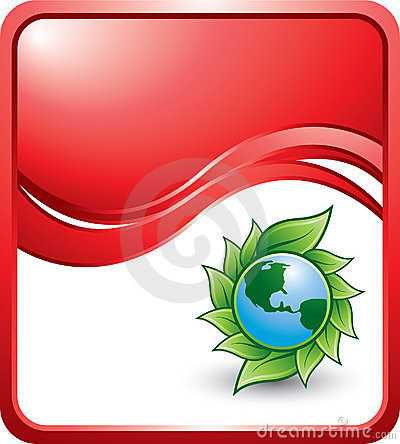 Green planet on red wave background