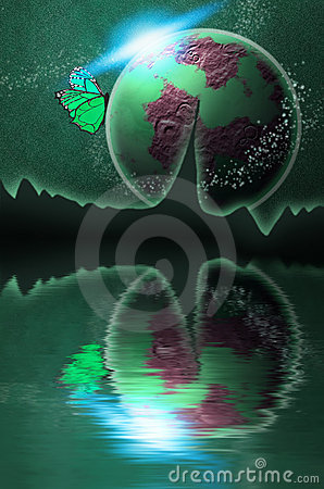 Green Planet in Space with Sun and Butterfly