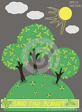 Green planet with tree vector Vector Illustration