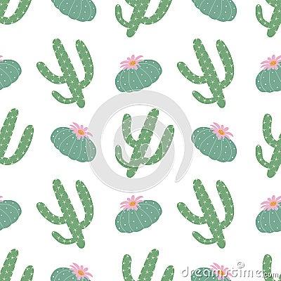 Free Green Plants Cactus Peyote Seamless Pattern On A White Backgroun Royalty Free Stock Image - 119481776