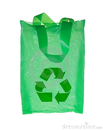 Green Plastic Bag With Recycle Symbol Stock Photo Image