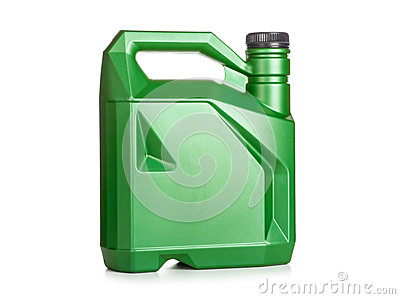 Green Plastic Canister Of Motor Oil Stock Photo Image