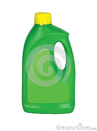 Green Plastic detergent bottle