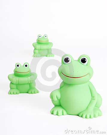 Green plastic frogs