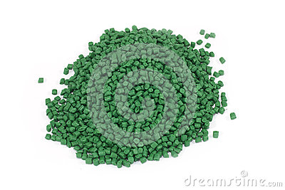Green plastic polymer granules