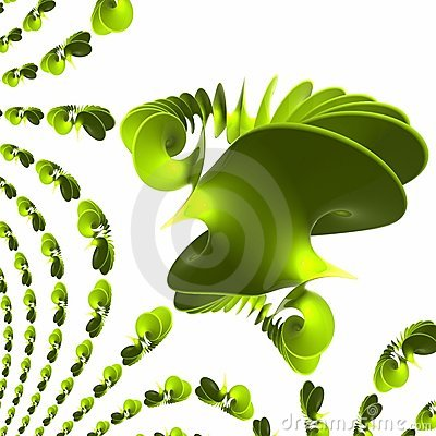 Green plastic spiral - wave polishes and reflecting